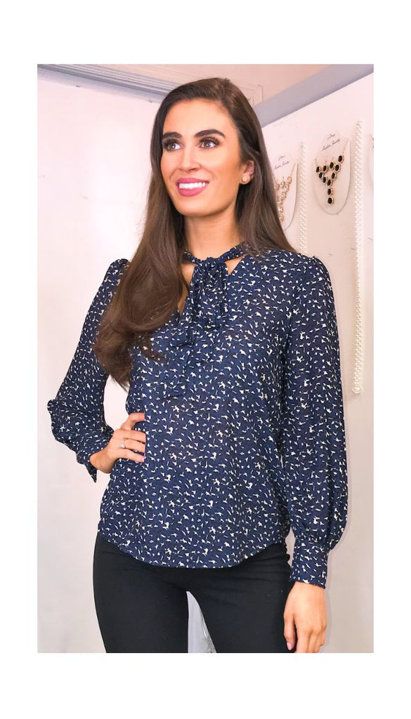 5783 Wilma Navy Pussybow Blouse