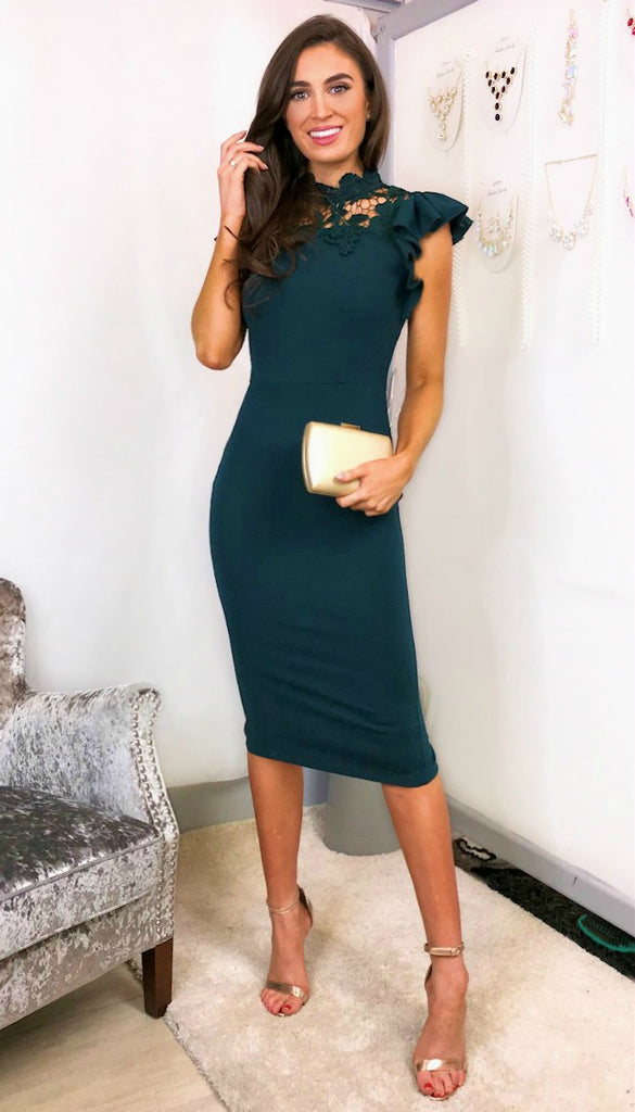 5829 Shirley Emerald Frill Shoulder Dress