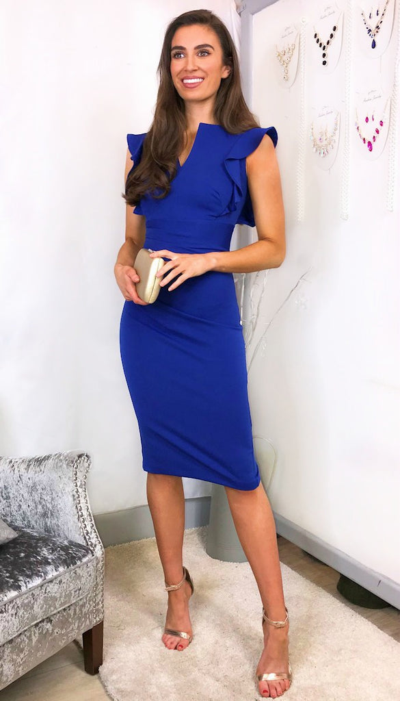 5849 Yvette Blue Frill Midi Dress