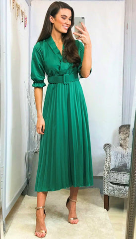 5947 Dee Green Lace Midi Flare Dress