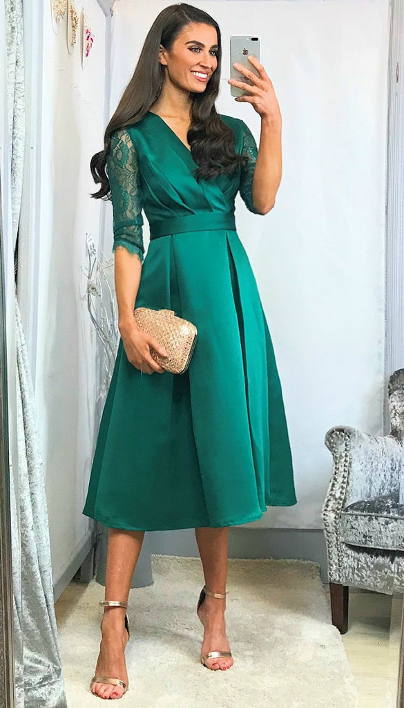 5-6044 (SIZE 8 ONLY) - Rose Green Sleeve Flare Dress