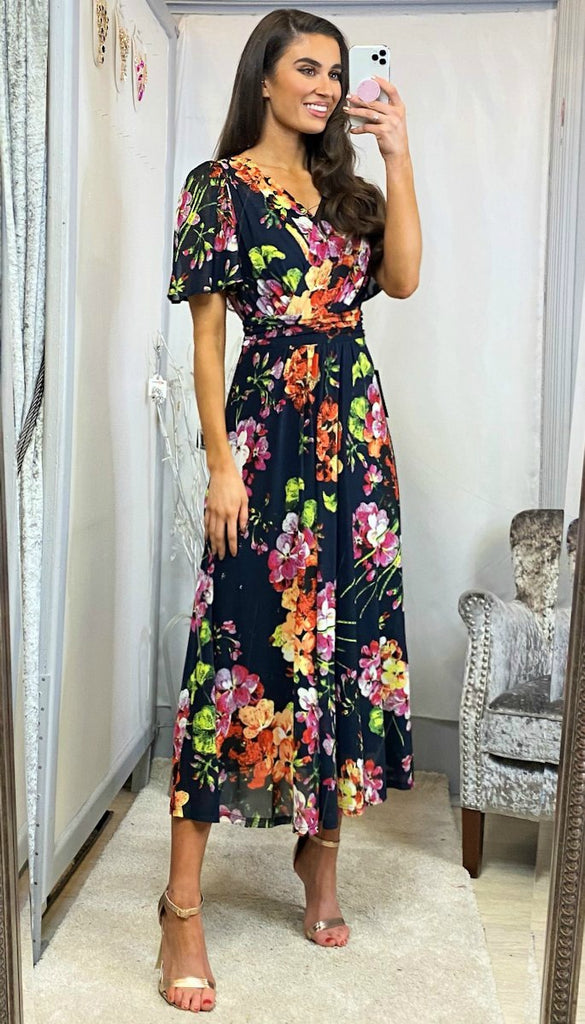 5-6088 - (SIZE 8 ONLY) - Arleen Dark Navy Floral Midi Dress