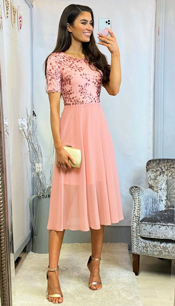 5-6103 - (SIZES 14,20) - Leila Blush Embellished Flare Dress