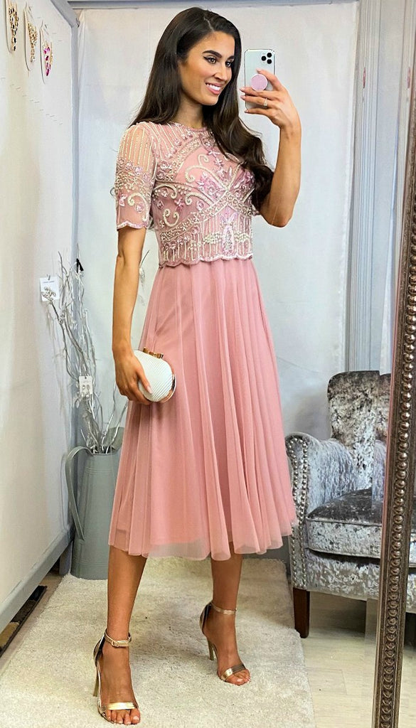 5-6118 - (SIZE 22 ONLY) - Enya Vintage Blush Embellished Dress