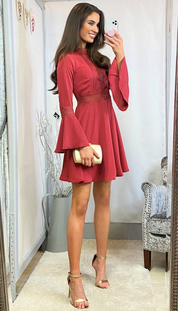 5-6134 - (SIZE 16 ONLY) - Nilda Flute Sleeve Mini Flare Dress