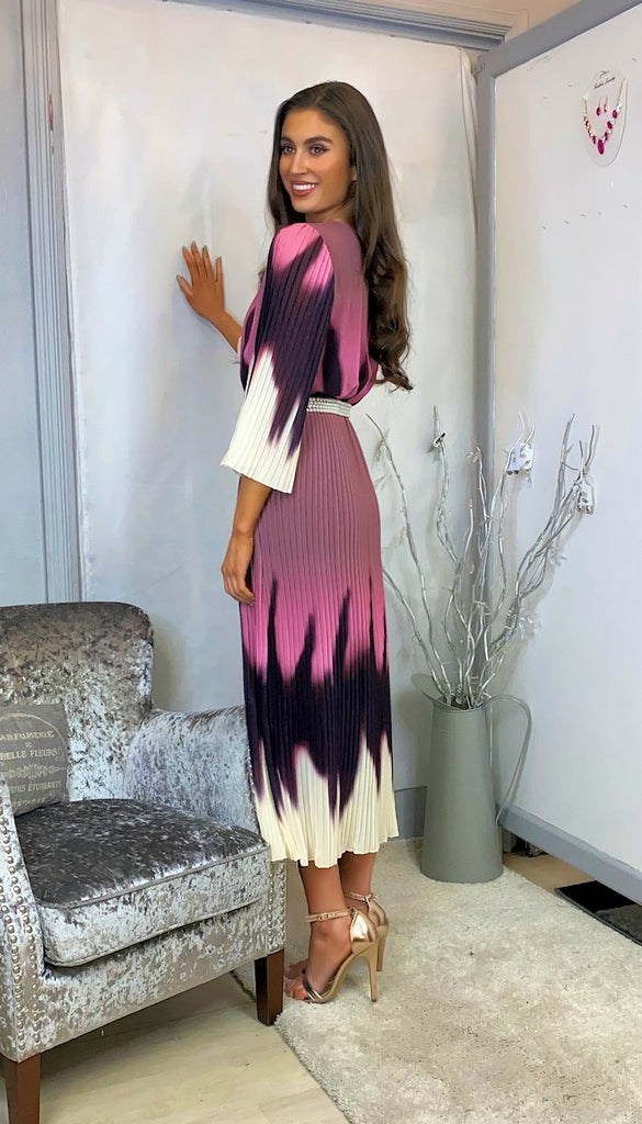 6138 Carla Tie Dye Batwing Pleat Dress