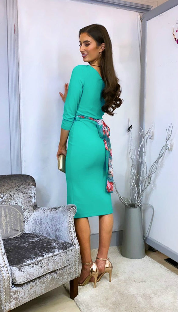 4-6159(B) - (SIZES 16,18 ONLY) - Rosari Green One Shoulder Bodycon Dress
