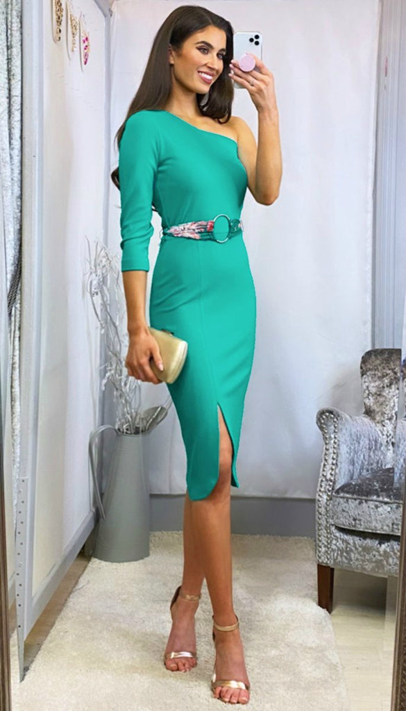 6159(B) - (SIZES 14,16,18) - Rosari Green One Shoulder Bodycon Dress