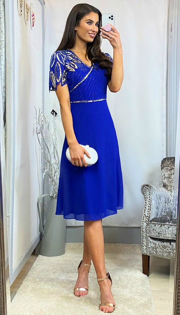 6160 - (SIZES 8,10,12) - Una Blue Flare Sequin Top Dress