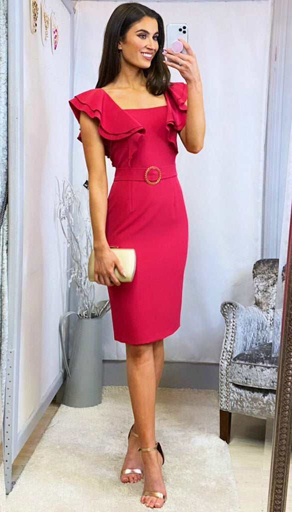 6168(B) Serbia Pink Ruffle Shoulder Dress