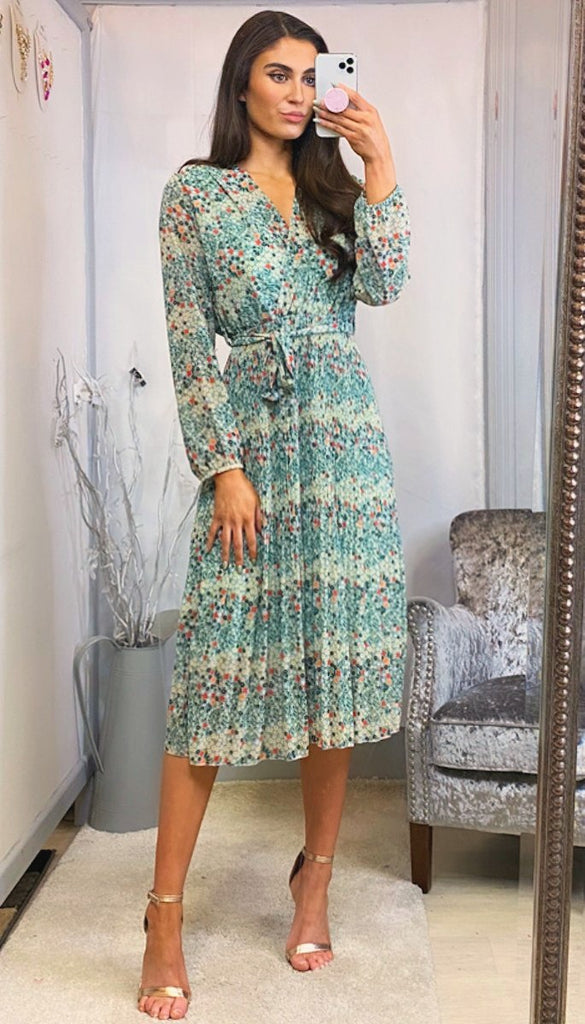 6170 Allegra Mint Floral Pleat Dress