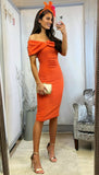 6189 Trixy Orange Bardot Bodycon Dress