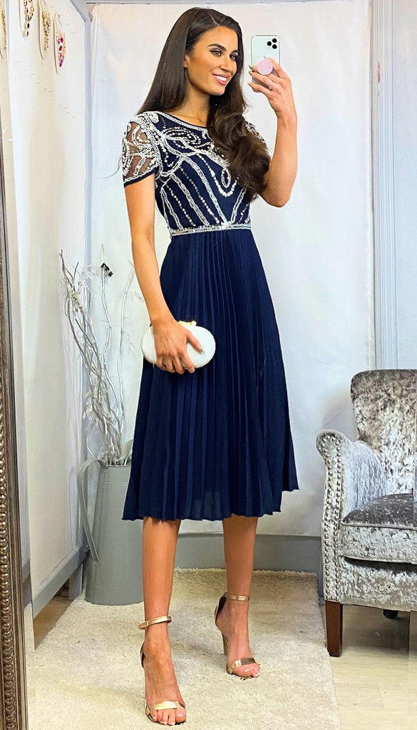 5-6199 - (SIZE 14 ONLY) - Delma Navy Sequin Top Pleat Dress