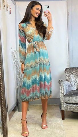 6177(B) Kila Sky Blue Floral Dress with Belt