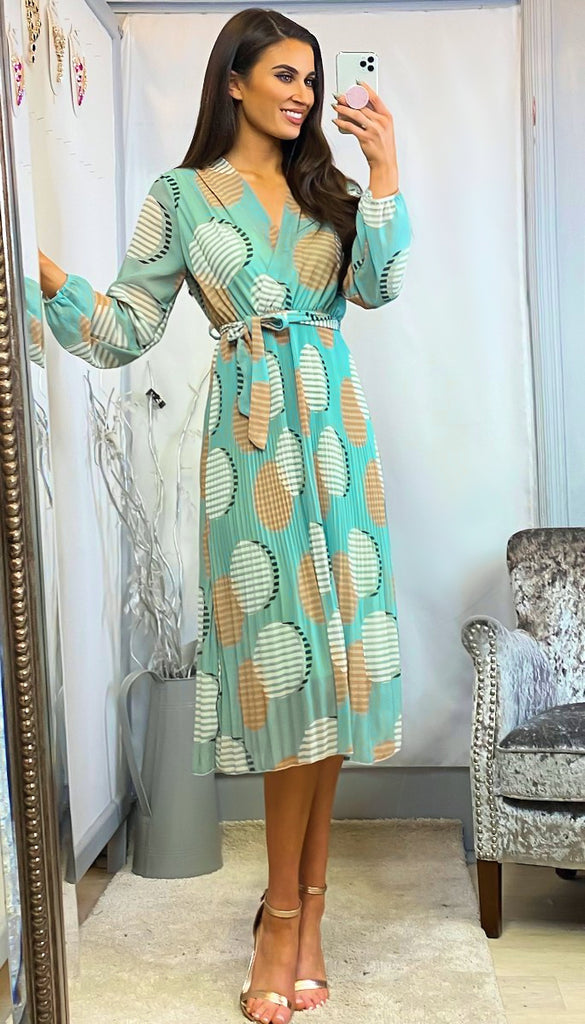 6211 Lilah Mint Circle Print Pleat Dress