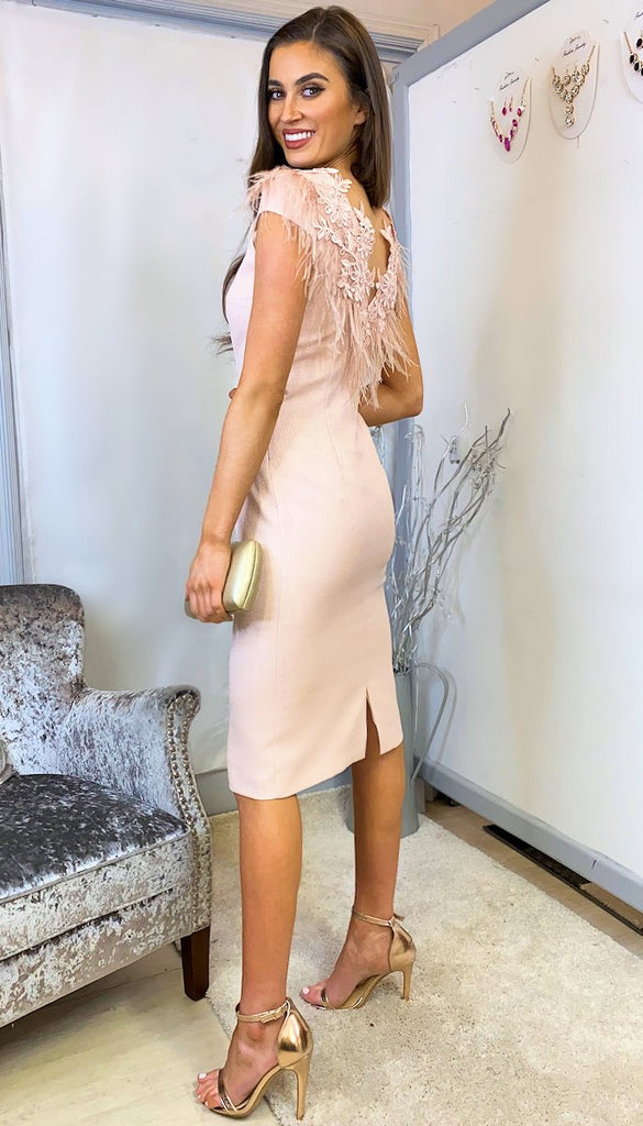 6212 Blanche Nude Feather Dress