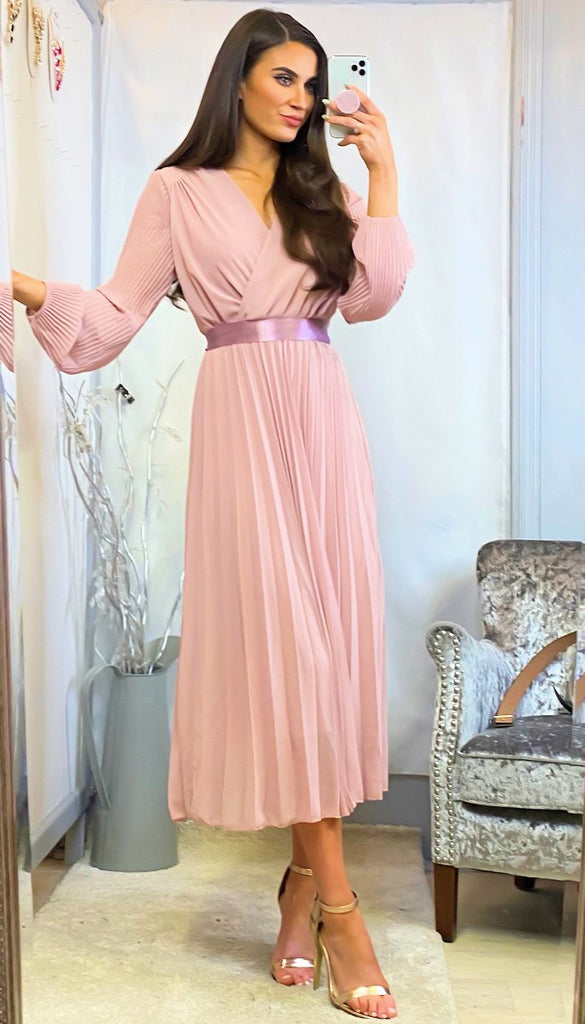 6224 Astrid Blush Pleat Midi Dress