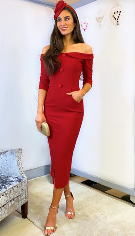 5-5962 - (SIZES 8,10 ONLY) - Vida Red Cape Dress