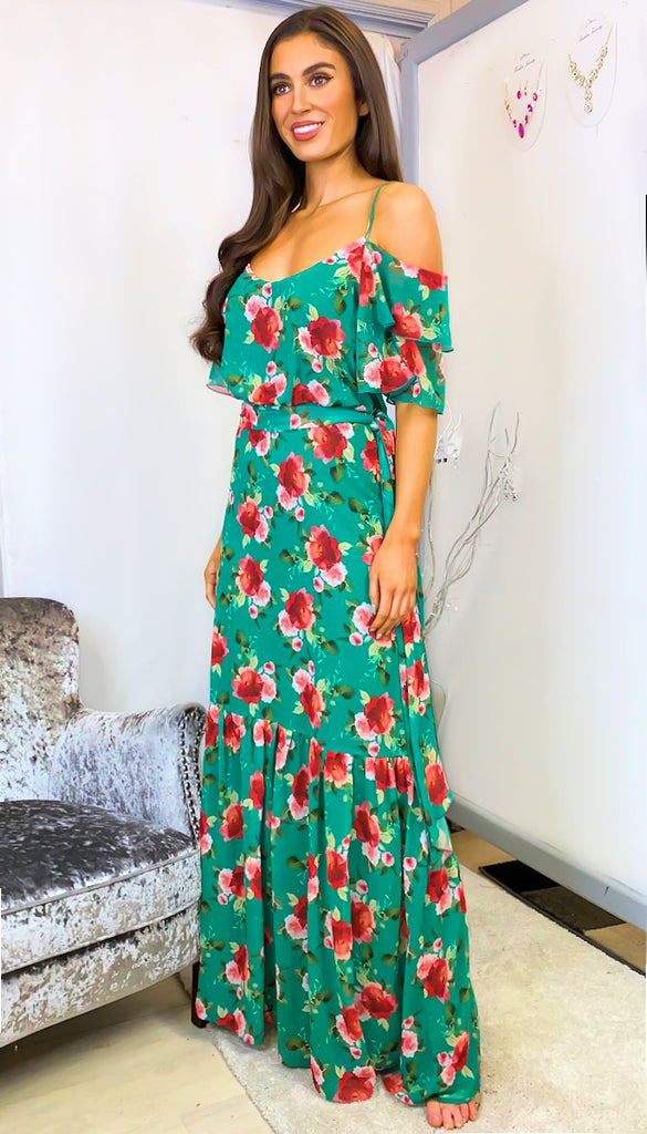 6227 Sandra Green Cold Shoulder Maxi Dress
