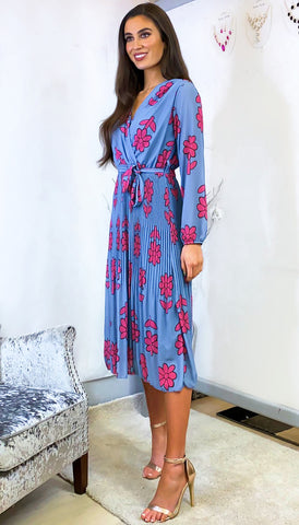 5-6151(B) - (SIZES 8,10 ONLY) Charmaine Royal Wrap Style Dress