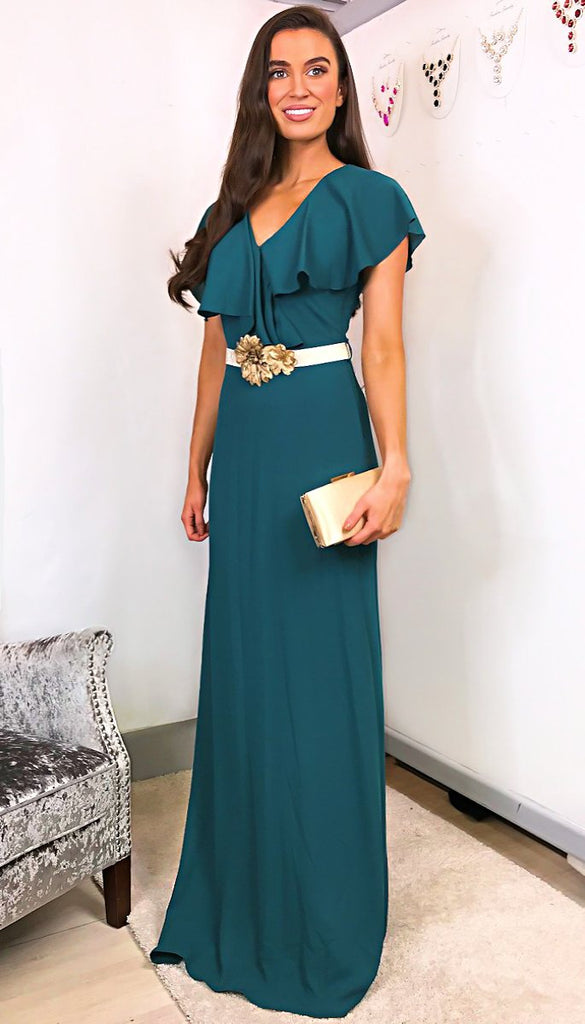 5-6252(B) - (SIZE 8/10 ONLY) - Lexia Teal Belted Maxi Dress