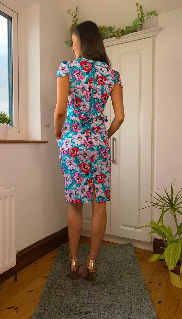 5-6284 - (SIZE 8 ONLY) - Charlie Green Floral Tulip Dress