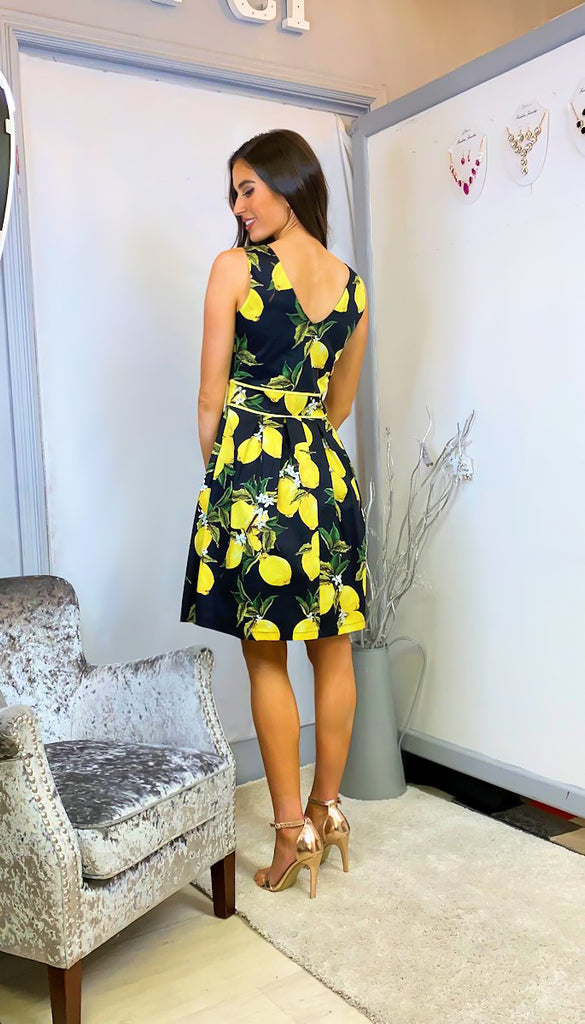6302 Cindy Black Lemon Print Flare Dress