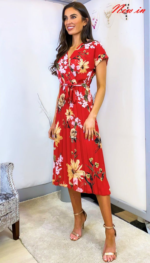 5-6324 - (SIZES 8,14 ONLY) - Mandy red Floral Pleat Dress
