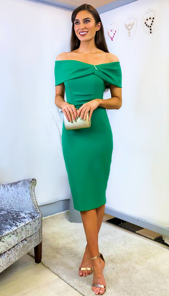 5-6325 - (SIZE 14 ONLY) - Effie Green Bardot Bodycon Dress