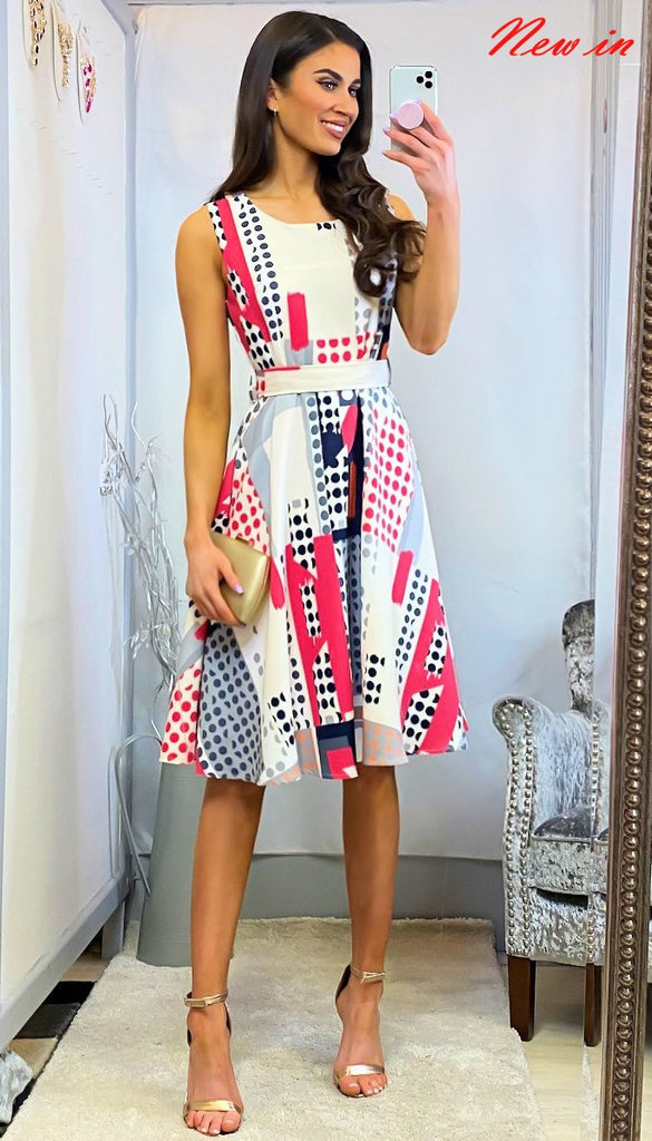 5-6329 - (SIZES 8,14 ONLY) - Ivanna Multi Print Flare Dress