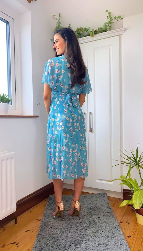 6341B Fatima Blue Floral Pleat Dress