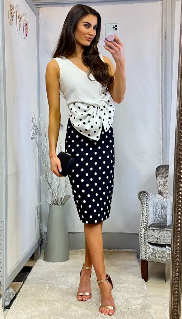 6374 Mindy Polka Dot Bow Dress