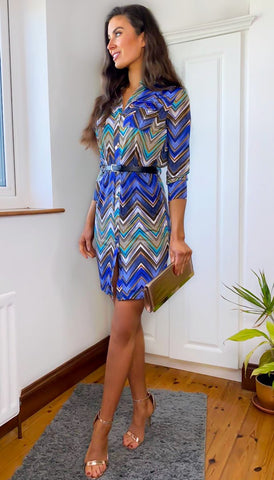 6311 Geraldine Colour Print Tunic Dress