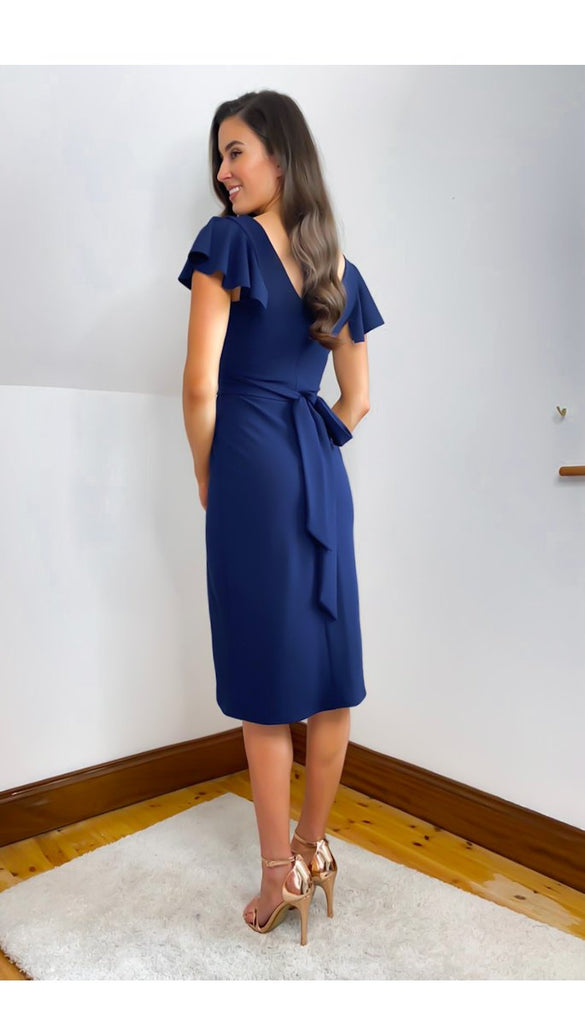 5-6465(B) - (SIZE 8 ONLY) - Navy Charmaine Wrap Style Dress