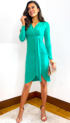 5-6015 - (SIZE 8 ONLY) - Brida Frill Wrap Midi Dress