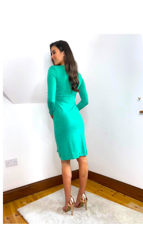 6496 Green Louella Slinky Dress