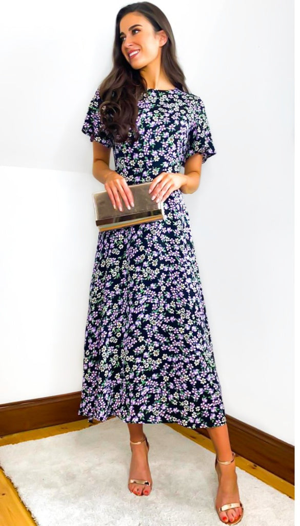 5-6508 - (SIZE 10 ONLY) - Valery Floral print Midi Dress