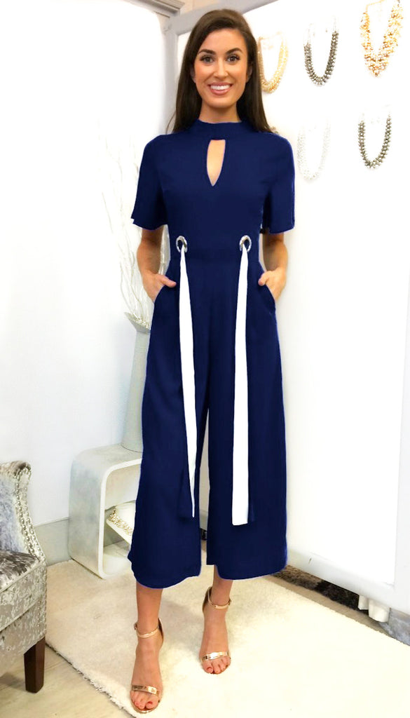 5-6539 - (SIZES 10,12 ONLY) - Navy High Neck Jumpsuit