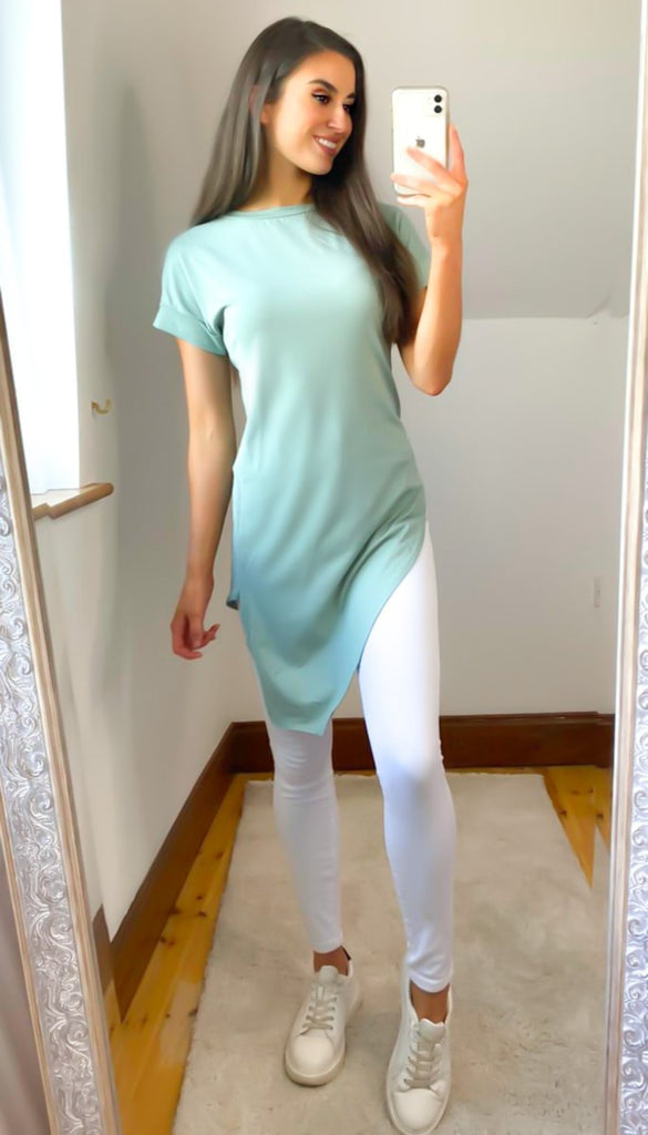 6542 Mint Asymmetrical T-Shirt