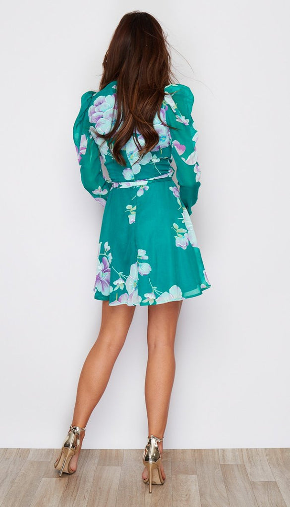 5-6549 - (SIZES 8,10 ONLY) - Libby Green Floral Mini Dress