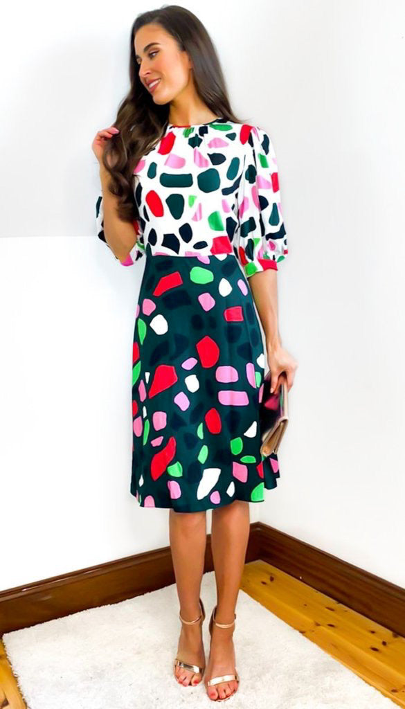 5-6578 - (SIZE 10 ONLY) - Tracy Puff Sleeve Dress