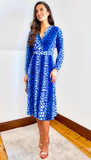 6600(B) Angela Blue Print Pleat Dress