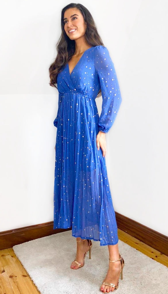 5-6629 - (SIZE 8/10 ONLY) - Blue Gold Star Dress