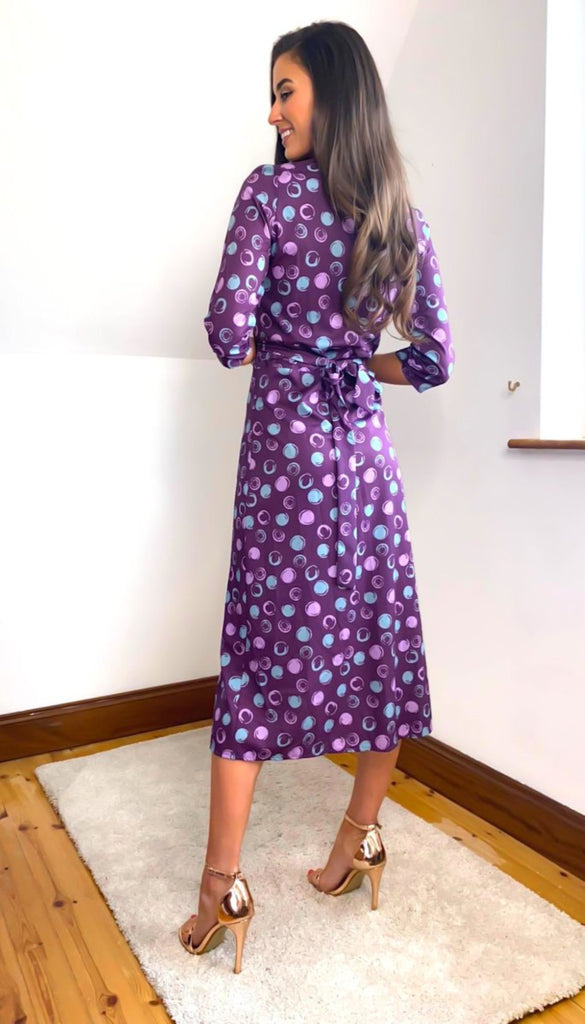 6666 Melanie Plum Print Wrap Dress