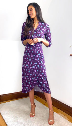 6671 Luca Plum & Green Shirt Dress