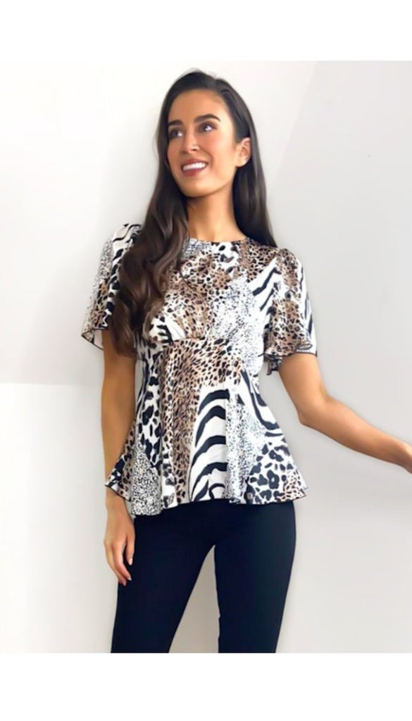 6673 - (SIZES 10,12,14) - Angel Sleeve Zebra Top