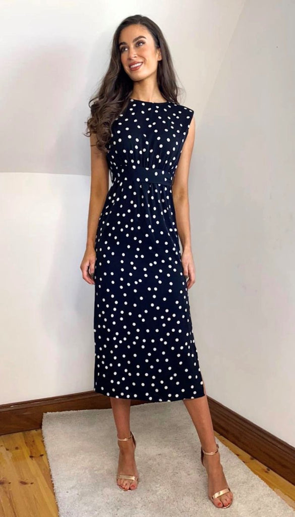 6680 Black Polka Dot Midi Dress