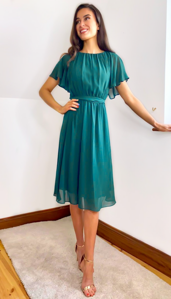 6683 Green Open Back Chiffon Dress