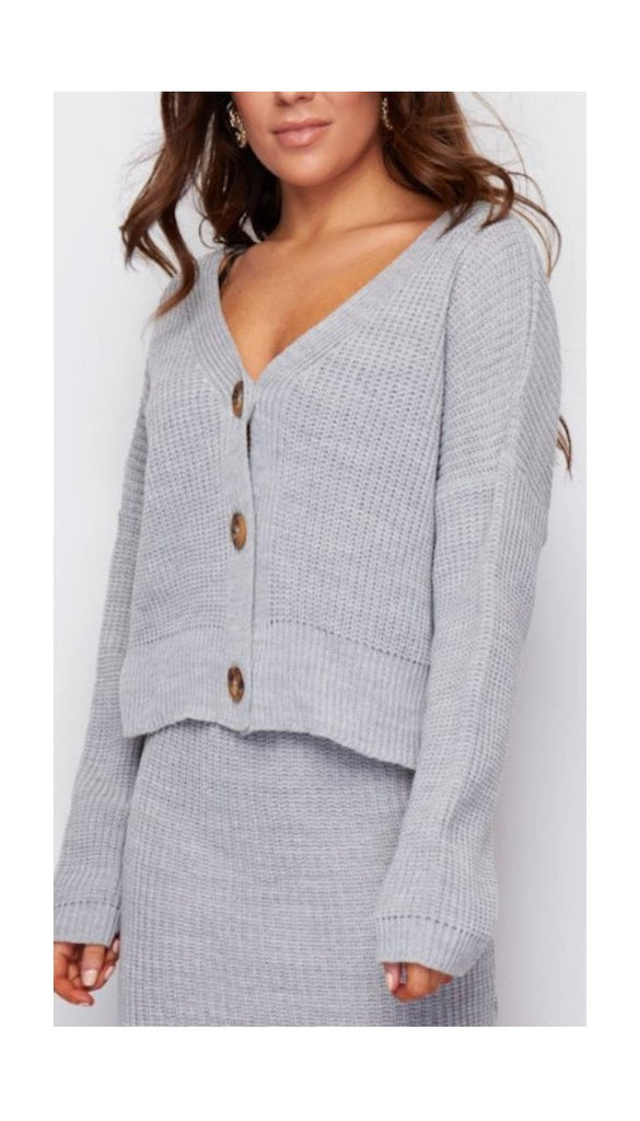 6696 Grey Karen 3 Button Cardi