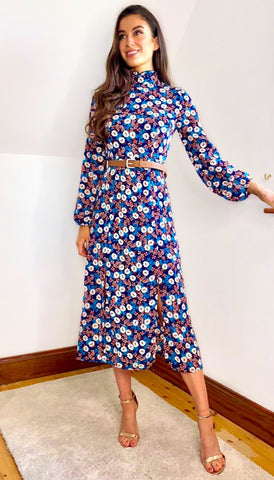 5-6603(B) - (SIZES 8,10 ONLY) - Catalin Floral Wrap Dress